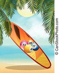 exotique, loto, plage, planche surf
