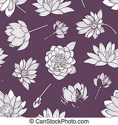 exotique, lotus, élégant, contour, bourgeons, pourpre, modèle, seamless, fleurs, arrière-plan., dessiné, emballage, illustration, main, floral, naturel, paper., lignes, leaves., vecteur, fleurir, toile de fond