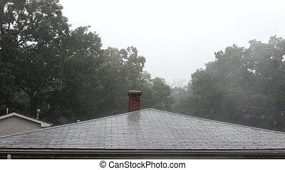 exotique, maison, toit, lourd, toit, pluie, fort, swash, ...