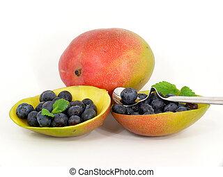 exotique, mangue, arbre,  fruit