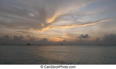 exotique, meeru, coucher soleil, island., maldives