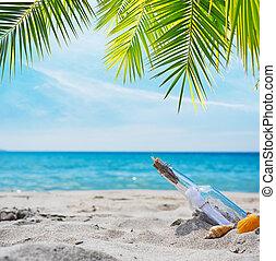 exotique, message, plage, bouteille
