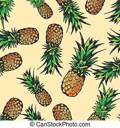 exotique, modèle, ananas, seamless, vecteur