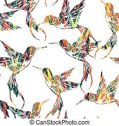 exotique, modèle, bird., seamless