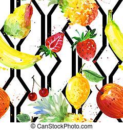 exotique, modèle, composition, aquarelle, fruit, sauvage, style.