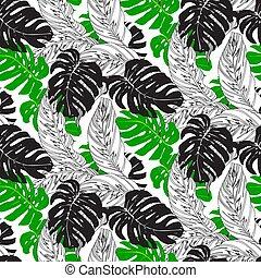 exotique, modèle, feuilles, jungle