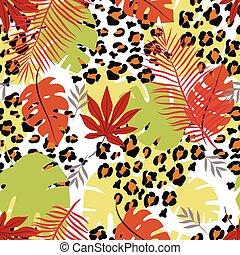 exotique, modèle, feuilles, léopard, seamless
