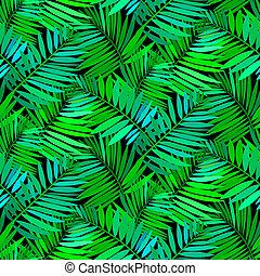 exotique, modèle, feuilles, paume, seamless