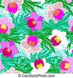 exotique, modèle, fleurs, floral, orchidée