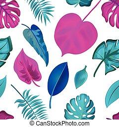 exotique, modèle, leaves., réaliste, seamless