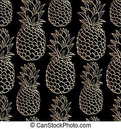 exotique, modèle, seamless, exotique, silhouettes, fruit, pineapples.