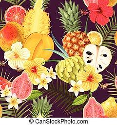 exotique, modèle, seamless, fruits