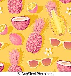 exotique, modèle, seamless, vecteur, fruits, fleurs