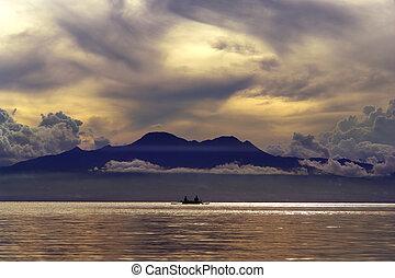 exotique, montagnes, sur, coucher soleil