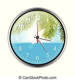 exotique, mur, fetes, vacances, horloge