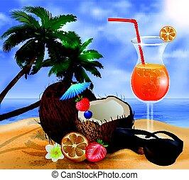 exotique, noix coco, cocktail