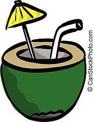 exotique, noix coco, parapluie, fond, cocktail, lignes, isolé, jaune, main, vecteur, vert, illustration, croquis, petit, dessiné, blanc, noir