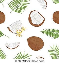 exotique, noix coco, paume, modèle, seamless, textile, arrière-plan., dessiné, blanc, emballage, illustration, main, fleurs, botanique, print., naturel, papier, arbre, réaliste, vecteur, feuillage, fleurir, frais