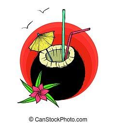 exotique, noix coco, vecteur, cocktail., illustration