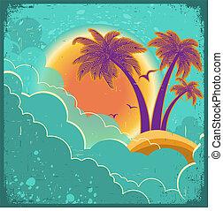 exotique, nuages, vendange, île, sombre, vieux, papier, texte, fond, affiche, soleil