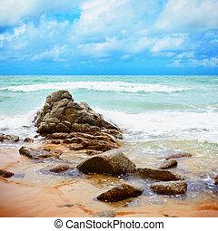 exotique, océan, -, paysage, côte