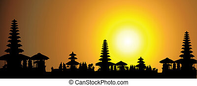 exotique, palmier, coucher soleil, silhouet