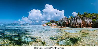 exotique, panorama., spectaculaire, la, île, digue, célèbre, la plupart, source, paradis, d'argent, plage, anse, seychelles.