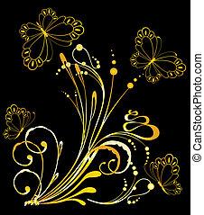 exotique, papillon, fleurs
