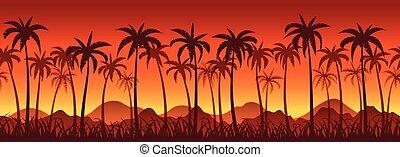 exotique, paume, coucher soleil