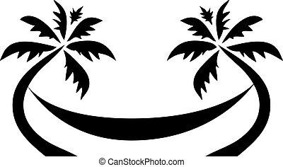 exotique, paume, hamac, arbre, logo