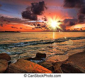 exotique, plage coucher soleil