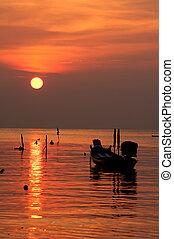 exotique, plage coucher soleil, bateau