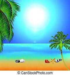 exotique, plage paume, ensoleillé, arbres