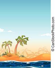exotique, plage, paysage