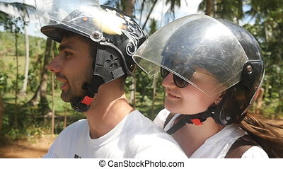 exotique, pov, vélomoteur, concept., scooter, femme, conduit...