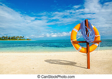 exotique, préservateur vie, plage, sablonneux