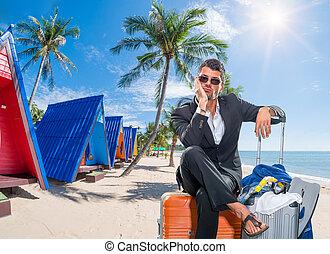 exotique, recours, homme, business, valises