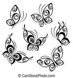 exotique, rigolote, dessin animé, butterfly.