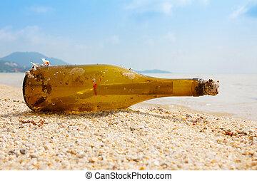 exotique, rivage, message, bouteille