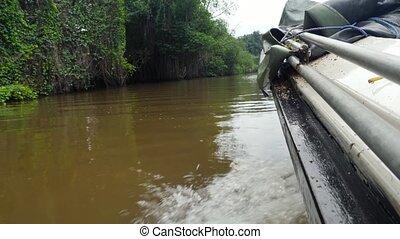 exotique, rivière, plastique, motorbat, vidéo, boueux, voile...