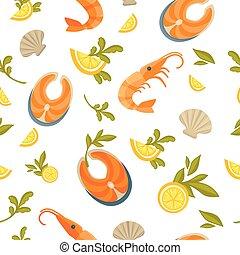 exotique, roi, modèle, seamless, crevette, saumon, délicieux, huîtres