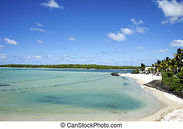 exotique, sable blanc, plage, océan indien