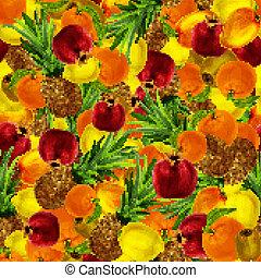 exotique, seamless, fond, fruits