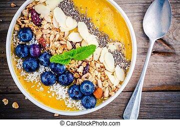 exotique, smoothies, bol, à, myrtilles, granola, chia, graines, et, amandes