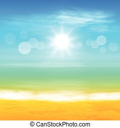 exotique, soleil, clair, plage, mer