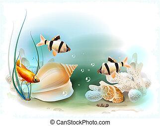 exotique, sous-marin, illustration, mondiale