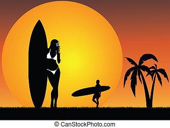 exotique, surfer, paradis