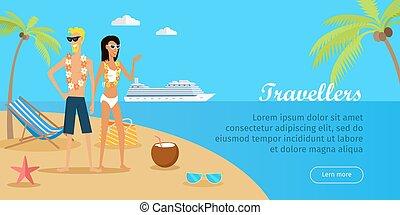 exotique, travellers., couple, vecteur, island.