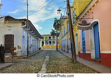 exotique, trinidad, bâtiments, cuba