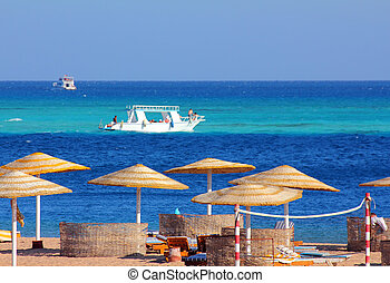 exotique, turquoise, plage, mer